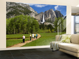 People Looking at Yosemite Falls from Wooden Walkway Wall Mural – Large by Emily Riddell