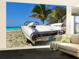Classic 1959 White Cadillac Auto on Beautiful Beach of Veradara, Cuba Wall Mural – Large by Bill Bachmann