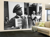 Navy CPO Graham Jackson Playing Accordian, Crying as Franklin D Roosevelt's Body is Carried Away Wall Mural – Large by Ed Clark