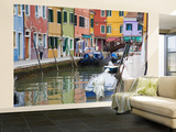 Colorful Burano City Homes Reflecting in the Canal, Italy Wall Mural – Large by Terry Eggers