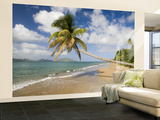 Coconut Grove Beach at Cades Bay, with St. Kitts on Horizon Wall Mural – Large by Greg Johnston