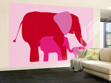 Pink Elephants Wall Mural – Large by  Avalisa