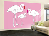 Pink Flamingo Wall Mural – Large by  Avalisa