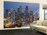 Singapore, City Skyline at Night Wall Mural – Large by Steve Vidler