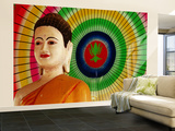 Buddha Statue and Colourful Parasol Vægplakat, stor af Antony Giblin