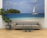 Panama, Comarca de Kuna Yala, San Blas Islands, Beach and Sailing Boat Wall Mural – Large by Jane Sweeney