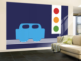 Blue Stop Light Wall Mural – Large by  Avalisa