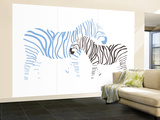 Blue Zebra Wall Mural – Large by  Avalisa
