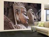 Sui Dynasty Seated Sakyamuni Buddha (Right) and Attending Bodhisattva (Left) Wall Mural – Large by Martin Moos