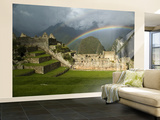 Rainbow over Incan Ruins of Machu Picchu Wall Mural – Large by Emily Riddell