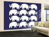 Blue Elephant Family Wall Mural – Large by  Avalisa