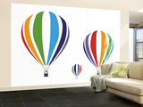 Rainbow Hot Air Balloons Wall Mural – Large by Avalisa