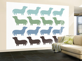 Blue Daschund Family Wall Mural – Large by  Avalisa