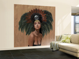 Feathers and Skulls Wall Mural – Large by Charmaine Olivia