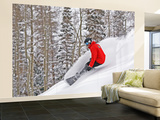 Snowboarder Enjoying Deep Fresh Powder at Brighton Ski Resort Wall Mural – Large by Paul Kennedy