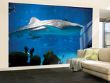 Excited School Children Gazing at Whale Shark at Osaka Aquarium Wall Mural – Large by Antony Giblin
