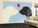 Blue Puppy Love Wall Mural – Large by  Avalisa