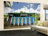 Sharks Cove Surf Shop with New Surfboards Lined Up at Front Wall Mural – Large by Merten Snijders
