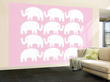 Pink Elephant Family Wall Mural – Large by  Avalisa