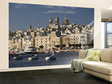 Town and Harbor From Vittoriosa, Birgu, Valletta, Malta Wall Mural – Large by Walter Bibikow