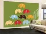 Green Counting Elephants Mural de parede – grande por  Avalisa