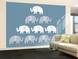 Blue Counting Elephants Mural de parede – grande por  Avalisa
