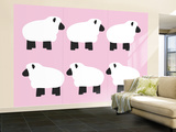 Pink Sheep Family Wall Mural – Large by  Avalisa