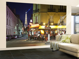 Eiffel Tower and Cafe on Boulevard De La Tour Maubourg, Paris, France Wall Mural – Large by Jon Arnold