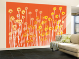 Orange Wild Flowers Wall Mural  Large tekijn Avalisa