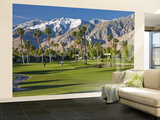 Desert Princess Golf Course and Mountains, Palm Springs, California, USA Wall Mural – Large by Walter Bibikow