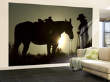 Cowboy With His Horse at Sunset, Ponderosa Ranch, Oregon, USA Wall Mural – Large by Josh Anon
