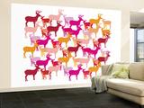 Warm Deer Pattern Wall Mural – Large by  Avalisa