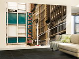 Detail of Coffee Shop Sign and Buildings, Union Square Wall Mural – Large by Michelle Bennett