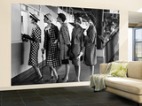 5 Models Wearing Fashionable Dress Suits at a Race Track Betting Window, at Roosevelt Raceway Wall Mural – Large by Nina Leen