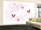 Pink Butterfly Trails Wall Mural – Large by  Avalisa