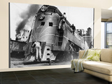 Soldiers Working on Locomotive Reproduction murale XXL par Myron Davis