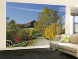 Rural Road Through Bluegrass in Autumn Near Lexington, Kentucky, USA Wall Mural – Large by Adam Jones
