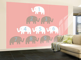 Pink Counting Elephants Wall Mural – Large by  Avalisa