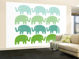 Green Elephant Family Wall Mural – Large by  Avalisa