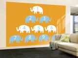 Orange Counting Elephants Mural de parede – grande por  Avalisa