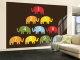 Brown Counting Elephants Wall Mural – Large by  Avalisa