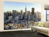 Transamerica Pyramid Building and Downtown from Top of Coit Tower Wall Mural – Large by Emily Riddell