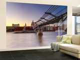 Uk, London, St; Paul's Cathedral and Millennium Bridge over River Thames Wall Mural – Large by Alan Copson
