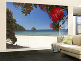 Pohutukawa Tree in Bloom and New Chums Beach, Coromandel Peninsula, North Island, New Zealand Wall Mural – Large by David Wall