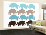 Brown Elephant Family Wall Mural – Large by  Avalisa