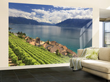 Switzerland, Vaud, Lavaux Vineyards, St; Saphorin Village and Lac Leman / Lake Geneva Wall Mural – Large by Michele Falzone