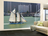Skow Schooner 'Alma' under Full Sail Passing by Waterfront Wall Mural – Large by Emily Riddell