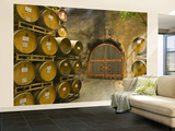 Oak Barrels Stacked Outside of Door at Ironstone Winery, Calaveras County, California, USA Wall Mural – Large par Janis Miglavs