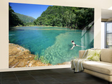 Visitors Swimming in Turquoise-Coloured Waters of Semuc Champey Wall Mural – Large by Paul Kennedy