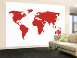 Carte du monde en rouge Wall Mural – Large par Avalisa